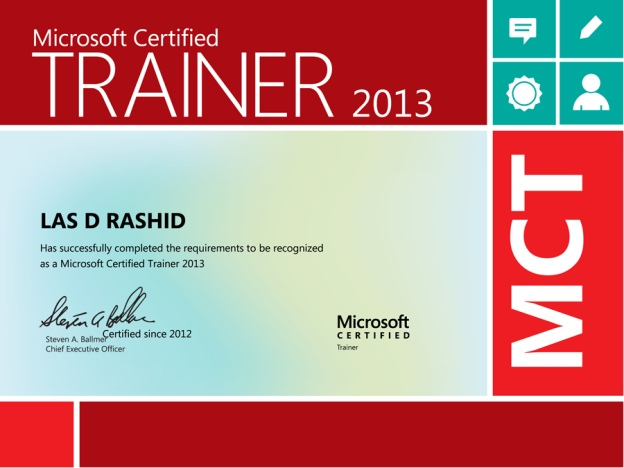 Microsoft Certified Trainer 2013